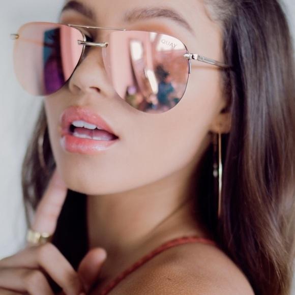 e09fb9aad36 Quay Playa Gold Pink Mirrored Aviator Sunglasses. M 5ac5b7e4fcdc3181db84401e